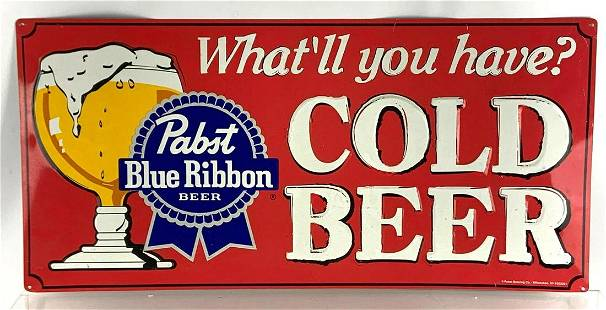 Modern Pabst Blue Ribbon Advertising Tin Beer Sign