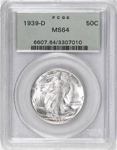 1939 D Walking Liberty Silver Half Dollar (PCGS) MS64