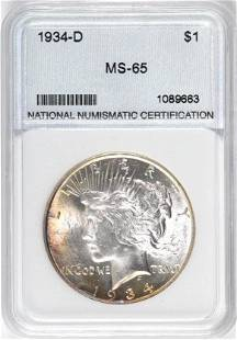 1934 D Peace Silver Dollar (NNC) Certified