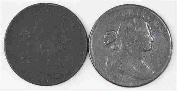 Group of (2) Draped Bust Large Cents