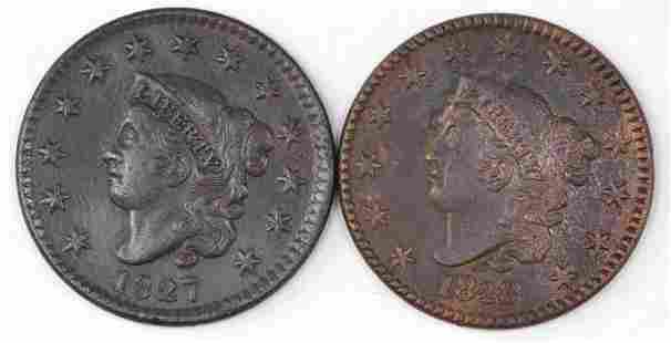 Group of (2) Coronet Head Large Cents