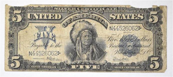 1899 $5 Silver Certificate Note - Chief Oncpapa