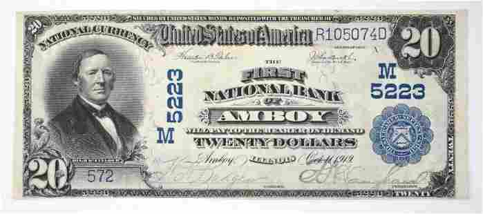1902 $20 National Currency Note - Amboy, Illinois