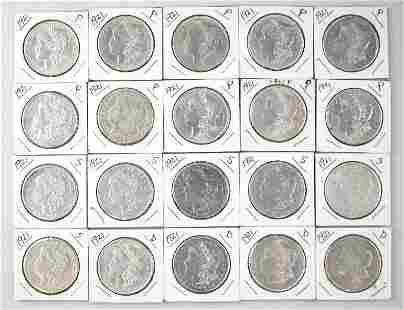 Group of (20) Morgan Silver Dollars 1921