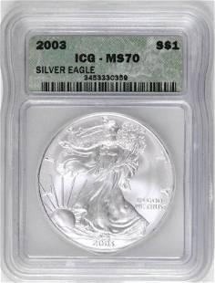 2003 American Silver Eagle 1oz (ICG) MS70