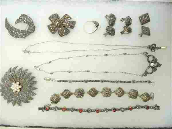 Marcasite Sterling Silver Jewelry Group of 12