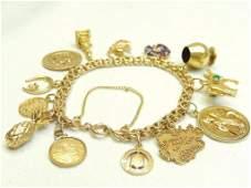 14K Gold Charm Bracelet w/Charms