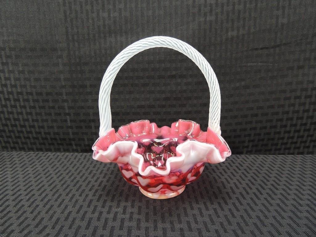 "Fenton Cranberry Opalescent Heart Optic 7 1/2"" Ruffled"