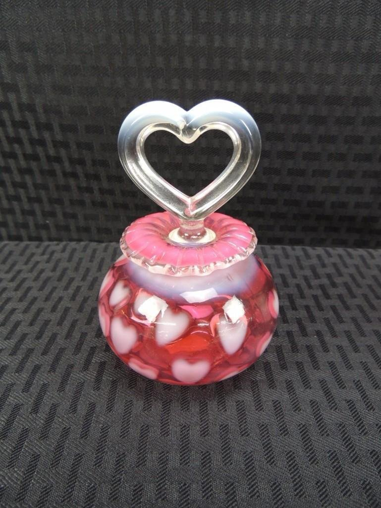 "Fenton Cranberry Opalescent Heart Optic 4 1/2"" Perfume"
