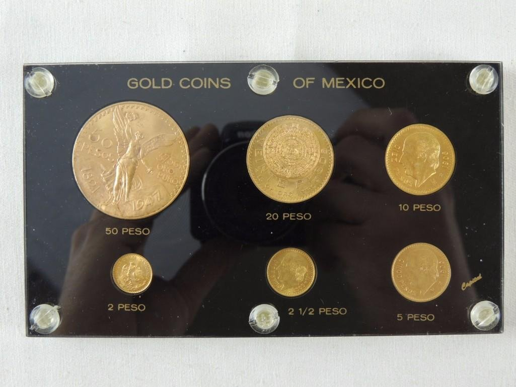 Complete set of Mexico Gold Pesos Various dates