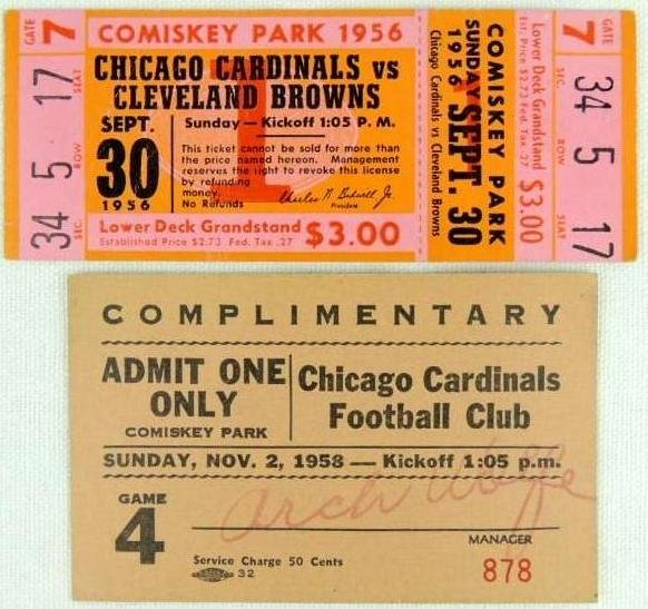 Very Rare Chicago Cardinals at Comiskey Park Complete