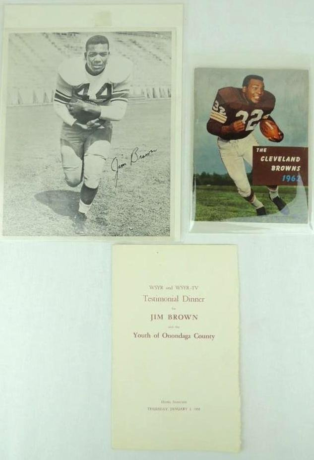 Jim Brown Group of 3, Year Book, Photo, and Testimonial
