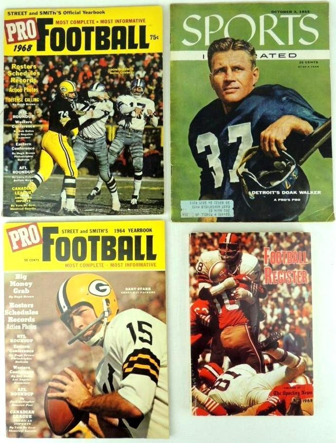 Group of 4 1950's and 60's Pro Football Magazines