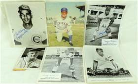 Group of 6 Chicago Cubs Signed Press Photos Featuring