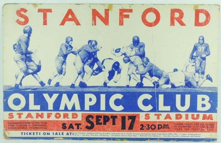 1930 Stanford Olympic Club Cardboard Broadside Sign