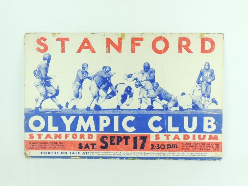 1930 Stanford Olympic Club Cardboard Broadside Sign - 2
