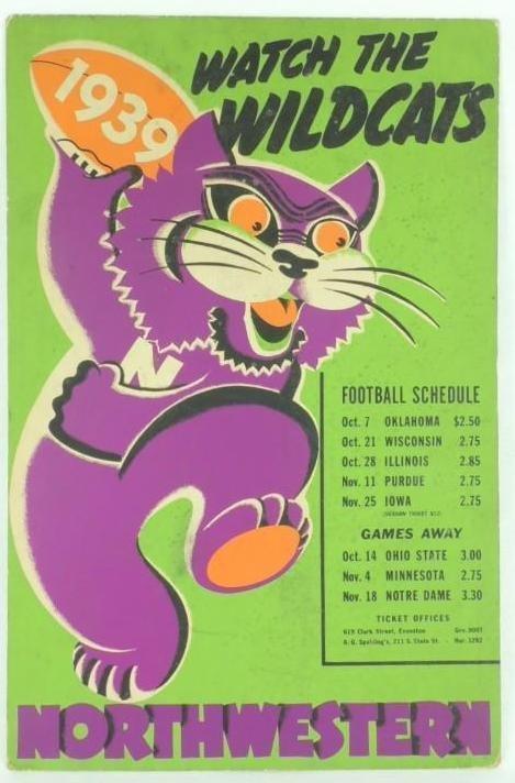 1939 Northwestern University Wildcats Cardboard