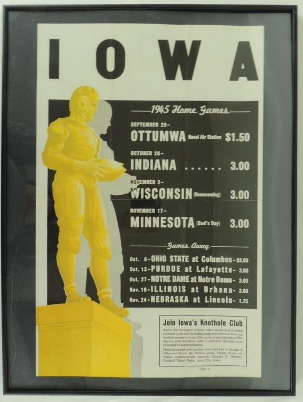 1945 Iowa University Football Poster Schedule, Framed