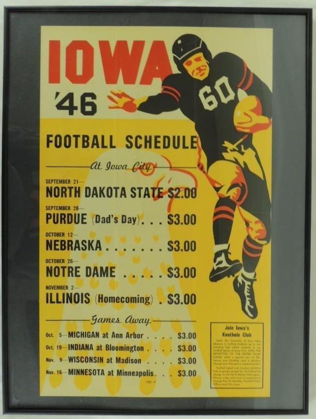 1946 Iowa  University Football Poster Schedule, Framed