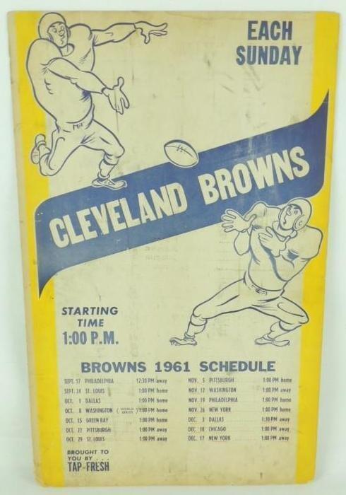 1961 Cleveland Browns Cardboard Broadside Football