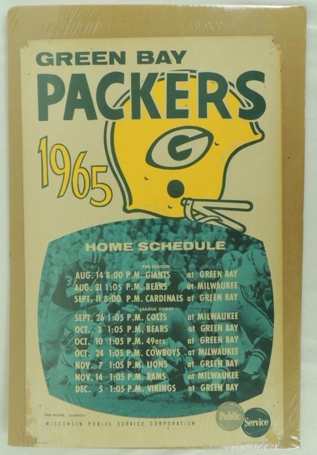 1965 Green Bay Packers Cardboard Broadside Football