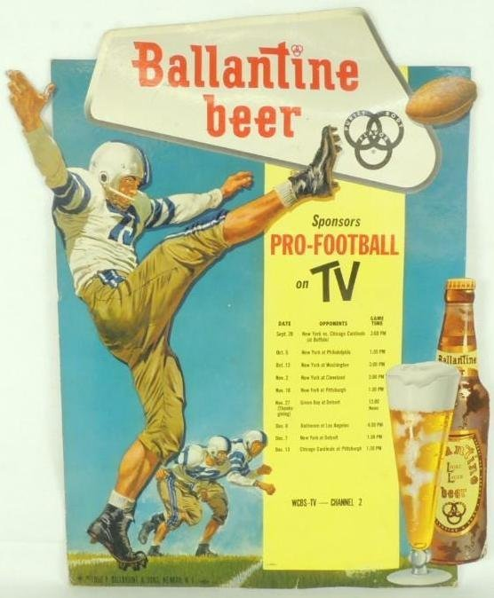 1958 Ballantine Beer Pro Football on TV Cardboard