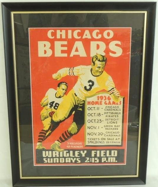 1936 Chicago Bears Cardboard Broadside Football