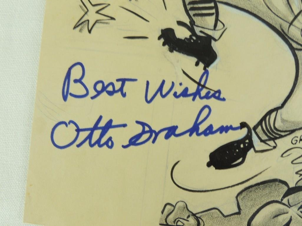 Otto Graham Signed illustration by Fred Reinert with - 2