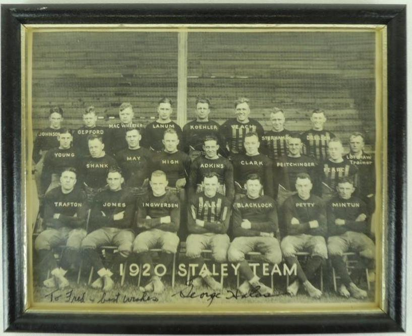 1920 Chicago Staley Team Photo George Halas Signed