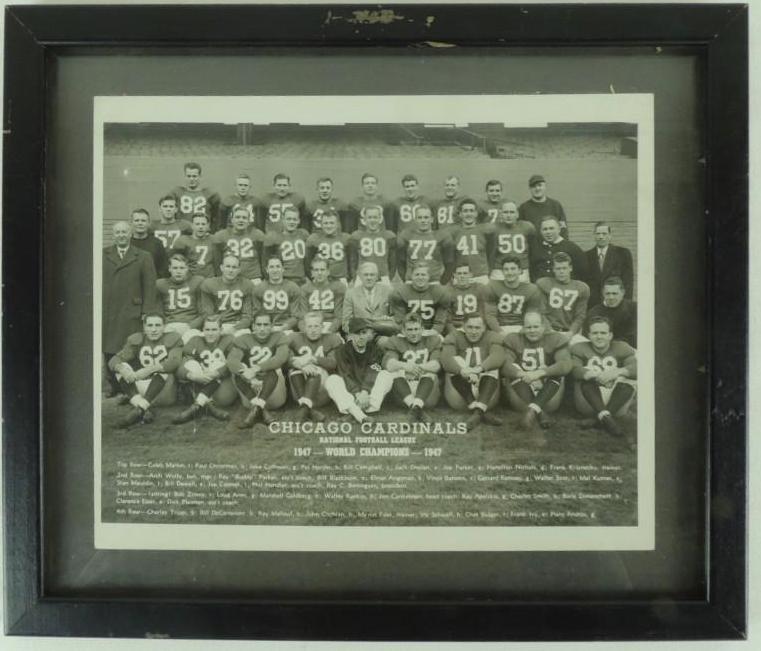 1947 Chicago Cardinals World Champions Framed Team