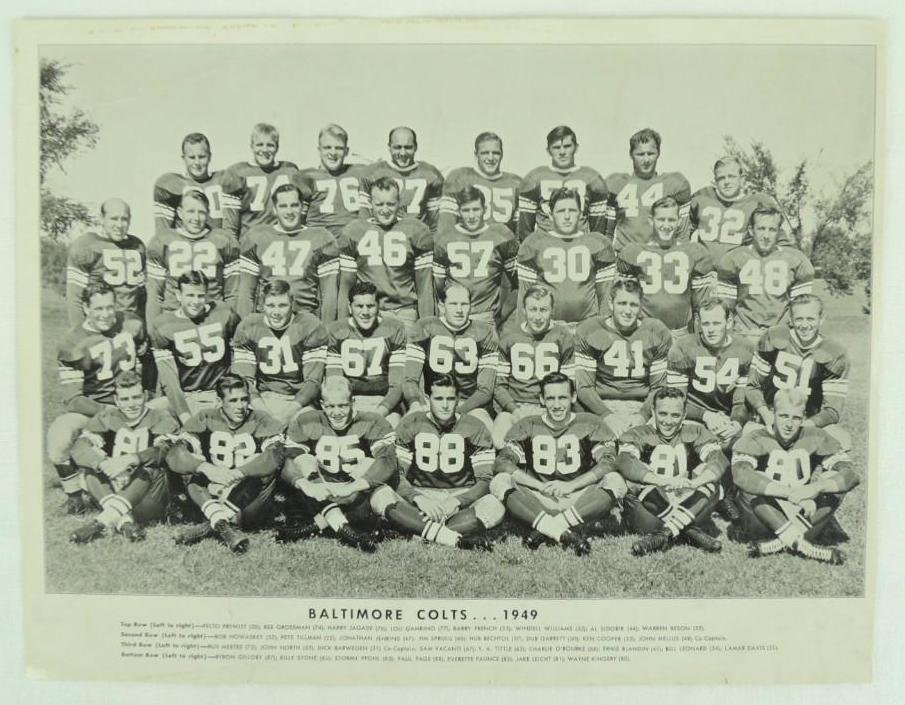 1949 Baltimore Colts Team Photo