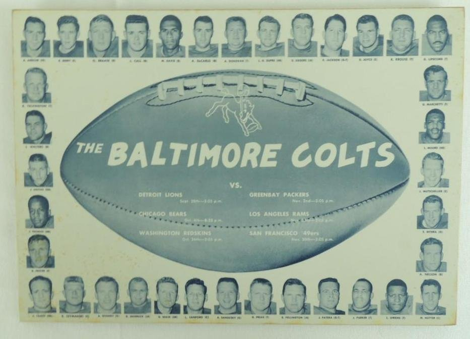 Baltimore Colts Plastic Placemat Plaque with Players