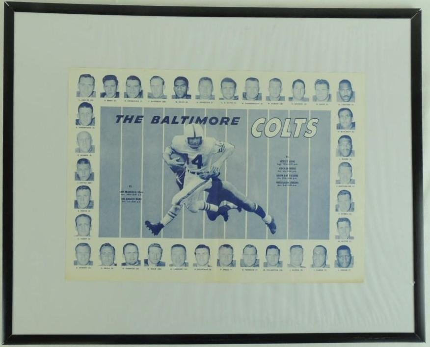 1957 Baltimore Colts Schedule Placemat with Players