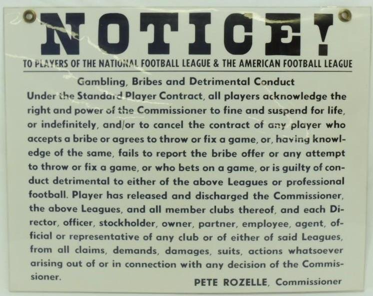 "NFL and AFL ""Notice"" No Gambling, Bribes, and"