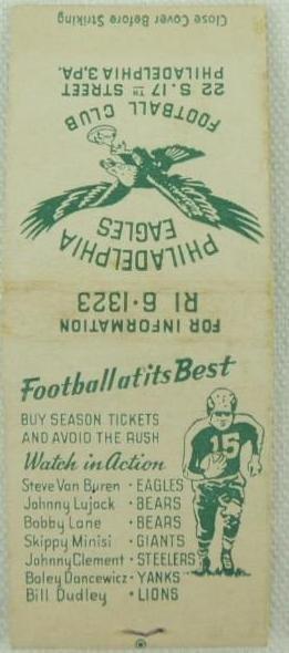 1948 Philadelphia Eagles Matchbook Schedule