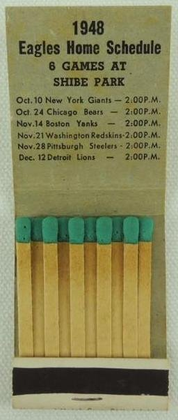 1948 Philadelphia Eagles Matchbook Schedule - 3