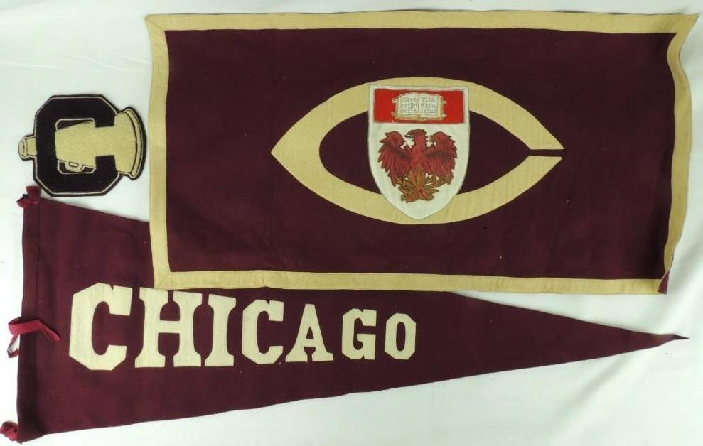 Early 1900's University of Chicago Banner, Pennant, and