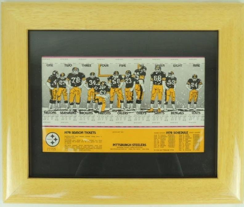 1978 Pittsburgh Steelers Sheet of Season Tickets with