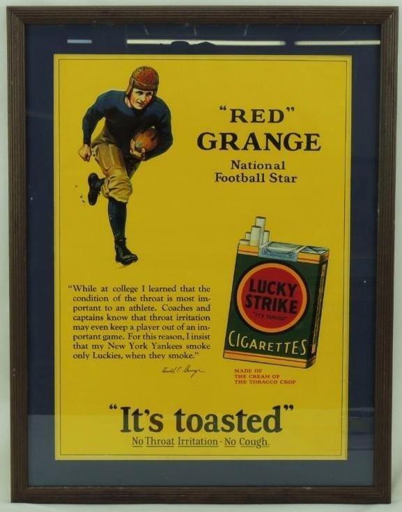 1926 Red Grange Lucky Strike Cigarettes Framed