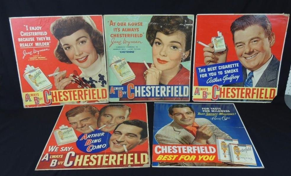 Vintage Chesterfield Cigarettes Cardboard Advertising