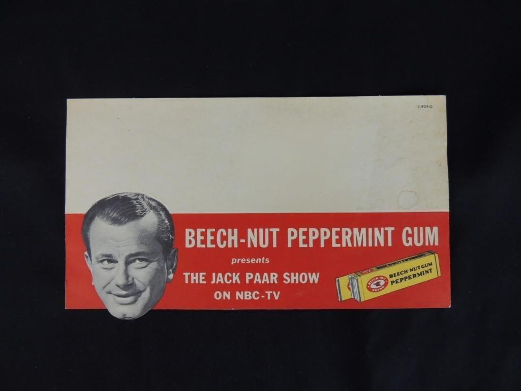 1950's Jack Paar Beechnut Gum Advertising Cardboard