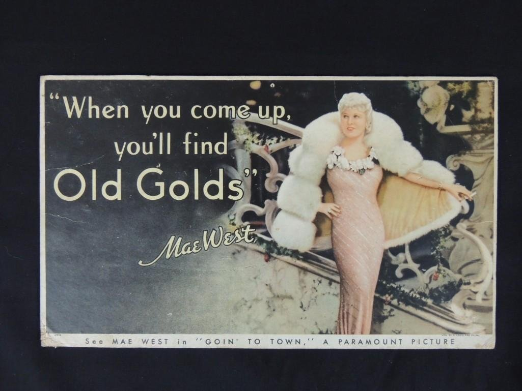 1930's Mae West Old Glory Cardboard Advertising Sign
