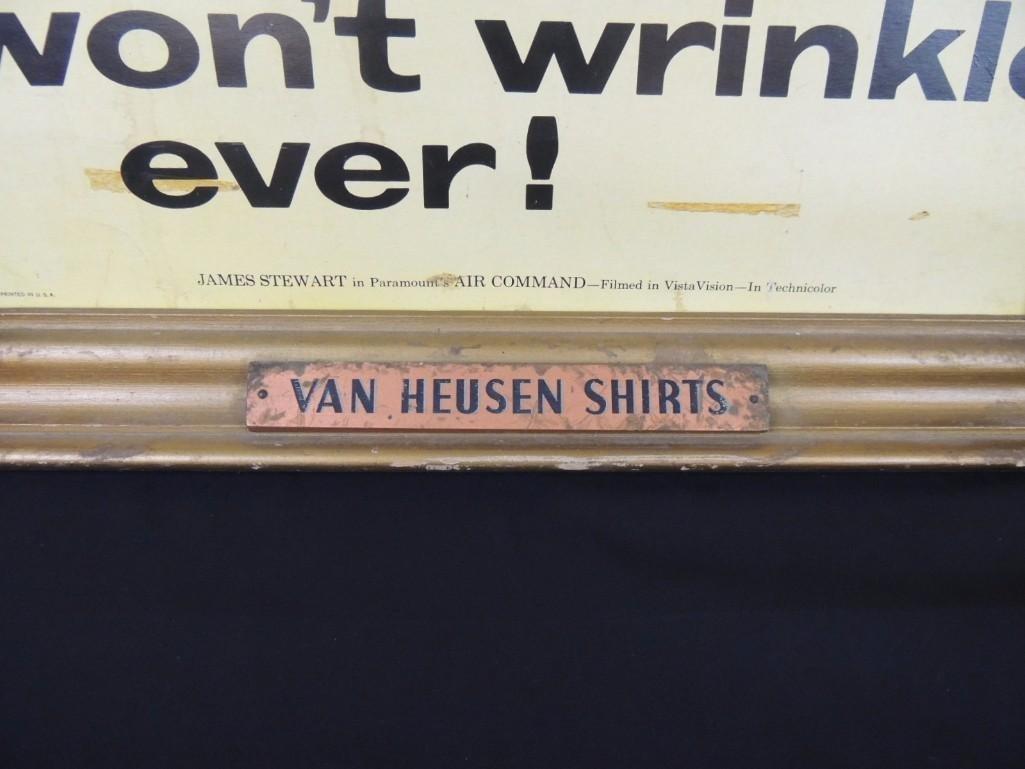 1955 Jimmy Stewart Van Heusen Shirts Framed Cardboard - 2