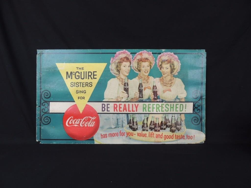The McGuire Sister Coca-Cola Cardboard Advertising Sign