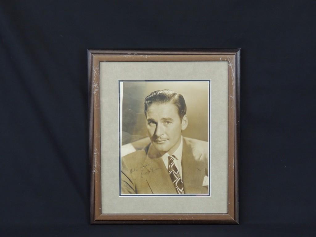 Erroll Flynn Framed Signed Photo