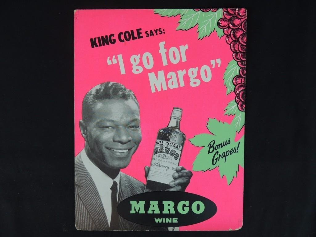 Nat King Cole Margo Wine Cardboard Advertising Sign