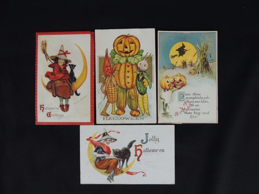 Group of 4 Halloween Postcards Featuring Witches,