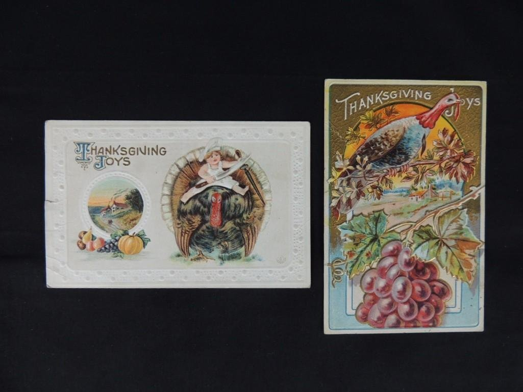 Group of 2 Thanksgiving Postcards Featuring Turkeys