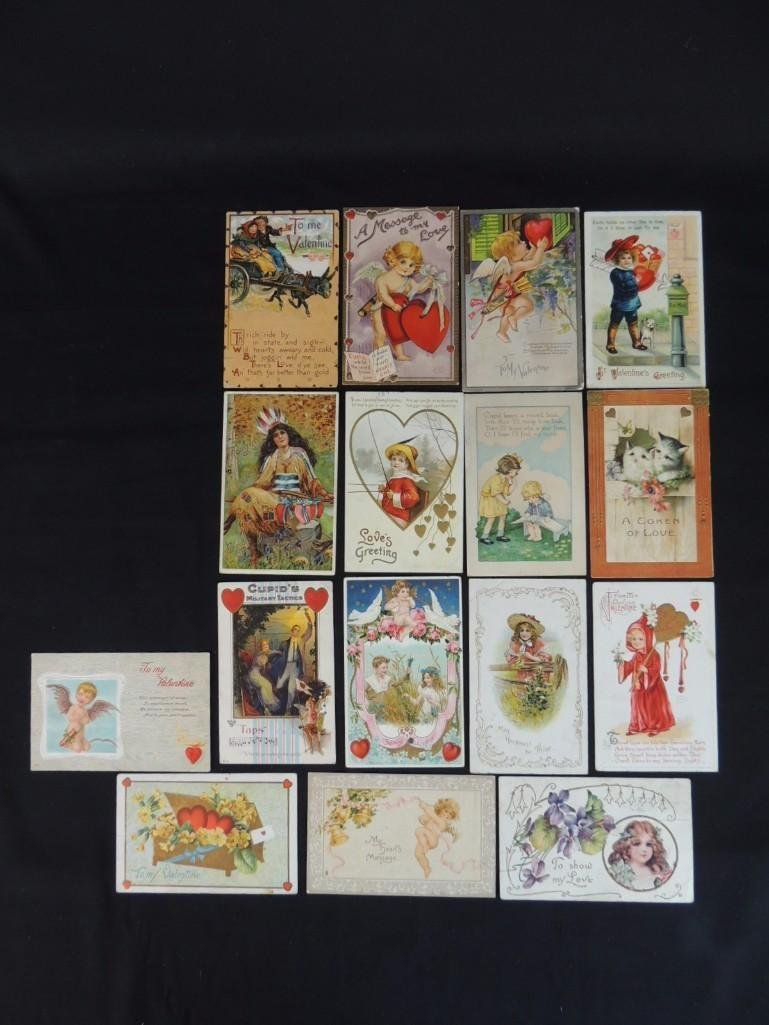 Group of 16 Valentines Day Postcards Featuring Cupid,