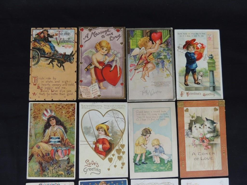 Group of 16 Valentines Day Postcards Featuring Cupid, - 2